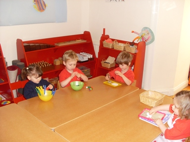 Prescool children learning at their own pace with more Montessori materials
